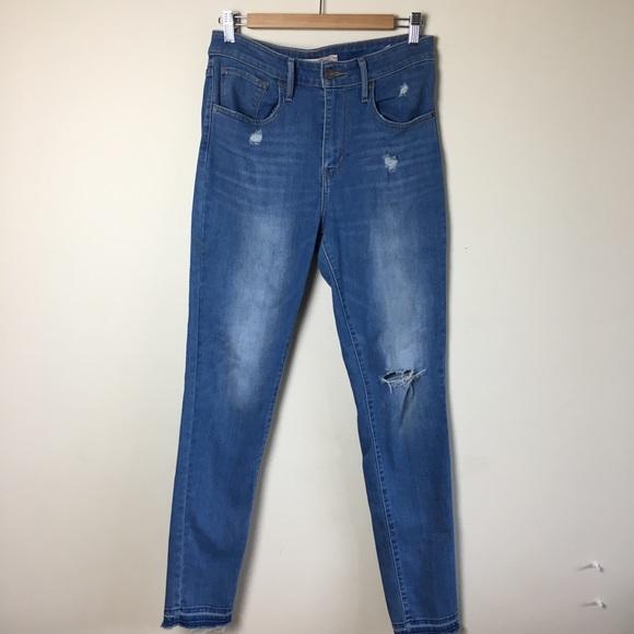 Levi's Denim - Levi's 721 High Rise Skinny Jeans Raw Hem Size 30